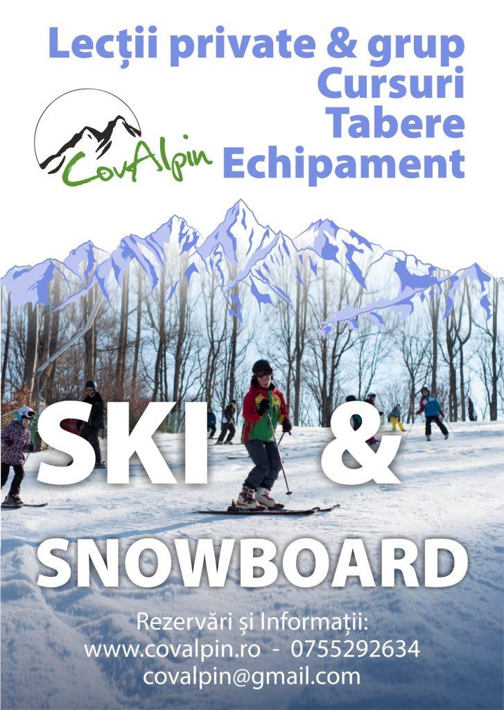 Lectii private si de grup, cursuri si tabere de schi si snowboard - Afis Covalpin